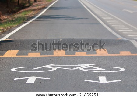 Bicycle's road sign and arrow