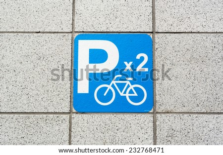 bicycle sign for park in mass rapid transit taipei - stock photo