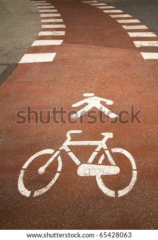 bicycle sign on the asphalt - stock photo