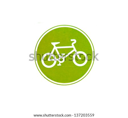 bicycle sign with green color on white background - stock photo