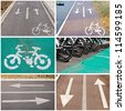 Bicycle signs on the streets collage - stock photo