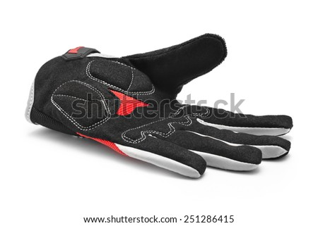 bicycle sport gloves on white - stock photo