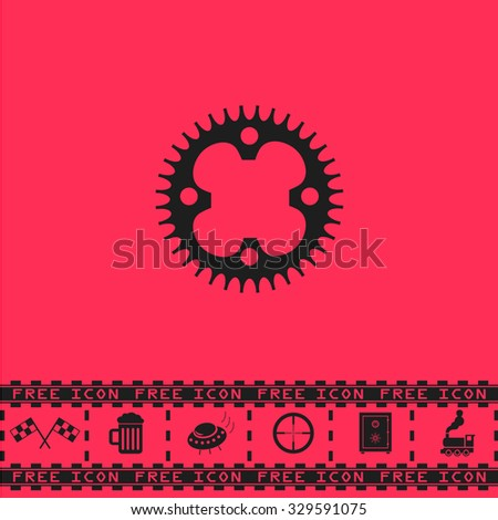 Bicycle sprocket. Black flat illustration pictogram and bonus icon - Racing flag, Beer mug, Ufo fly, Sniper sight, Safe, Train on pink background - stock photo