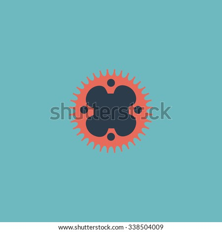 Bicycle sprocket. Colored simple icon. Flat retro color modern illustration symbol - stock photo