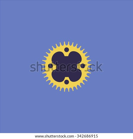 Bicycle sprocket. Colorful retro flat icon - stock photo