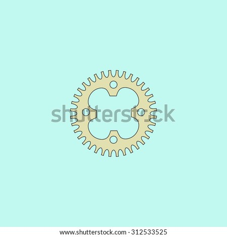 Bicycle sprocket. Flat simple line icon. Retro color modern illustration pictogram. Collection concept symbol for infographic project and logo - stock photo