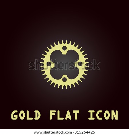 Bicycle sprocket. Gold flat icon. Symbol for web and mobile applications for use as logo, pictogram, infographic element - stock photo