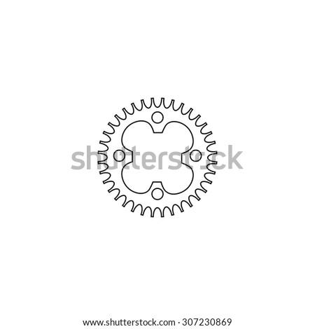 Bicycle sprocket. Outline black simple symbol - stock photo