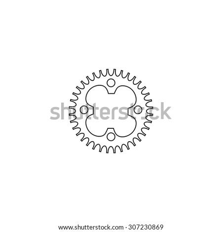 Bicycle sprocket. Outline black simple symbol - stock photo