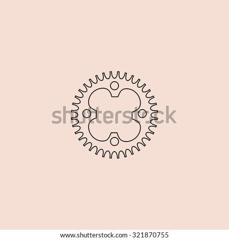 Bicycle sprocket. Outline icon. Simple flat pictogram on pink background - stock photo