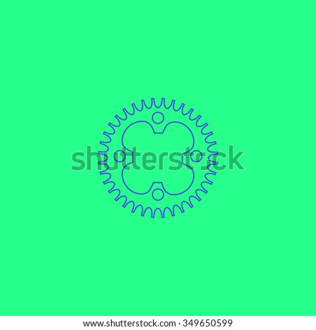 Bicycle sprocket. Simple outline illustration icon on green background - stock photo