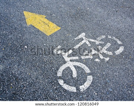 bicycle symbol on the road - stock photo