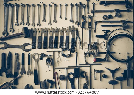 bicycle tools background - stock photo
