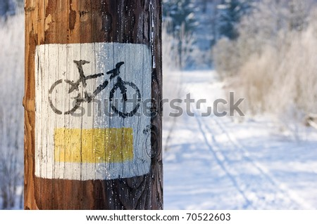 Bicycle tourist track during the winter - stock photo