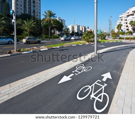 Bicycle Track along the Street in Tel Aviv, Israel - stock photo