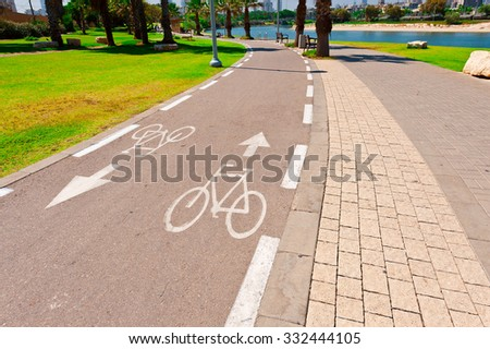 Bicycle Track along the Yarkon river in Tel Aviv, Israel - stock photo