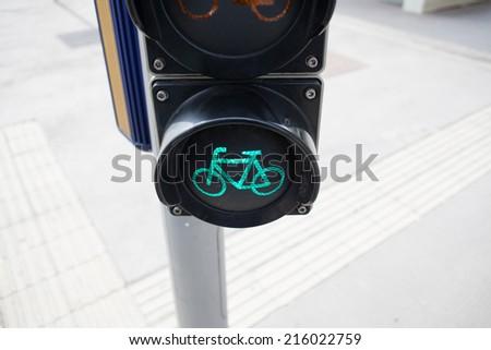 bicycle traffic lights - stock photo