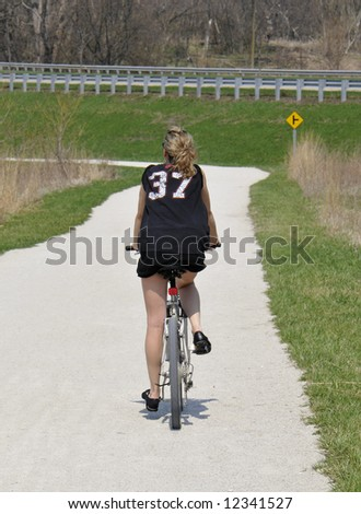 Bicycle trail rider near Chicago - stock photo