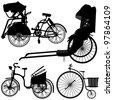 Bicycle Trishaw Transportation Vintage Antique Old Wheel - stock photo