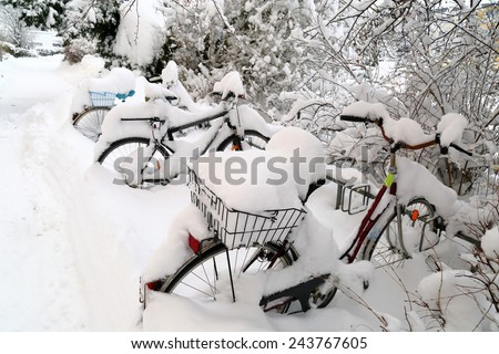Bicycle under drift - stock photo