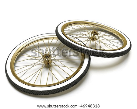 Bicycle vintage wheel, white wall, isolated on white - stock photo