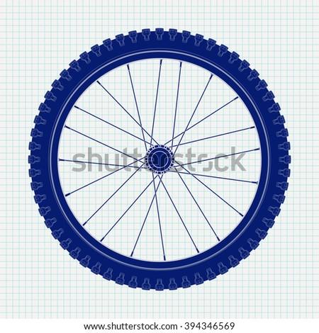 Bicycle wheel. Icon on Notebook sheet  background.  illustration. Raster version - stock photo