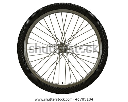 Bicycle wheel isolated on white - stock photo