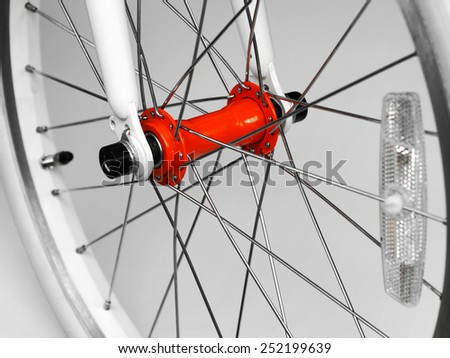Bicycle wheel with reflex. - stock photo