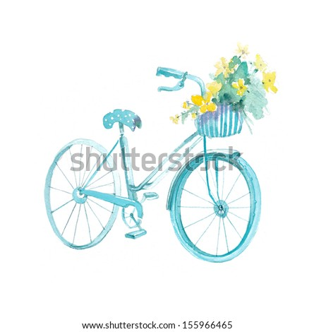 Bicycle with basket and flowers - stock photo