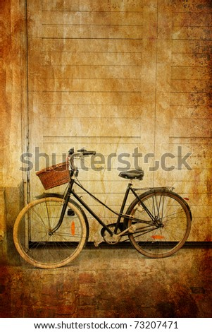 Bicycle with basket in sepia, Lille, France - stock photo