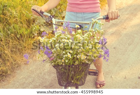 bicycle with flowers basket.