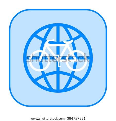 Bicycle world travel icon - stock photo