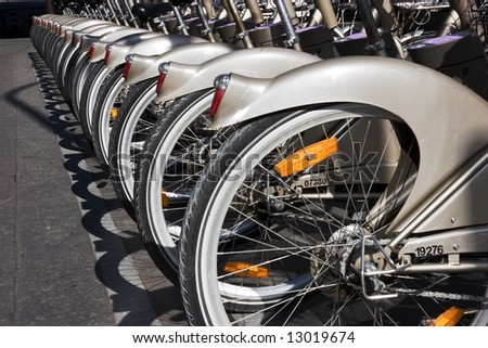 Bicycles in a row. - stock photo