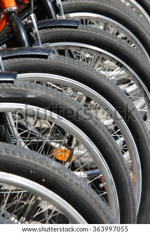 Bicycles in a Row - stock photo