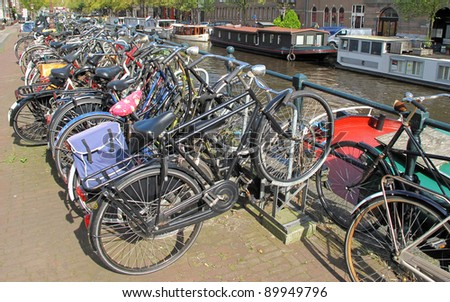 Bicycles in Amsterdam, Netherlands, European union. - stock photo