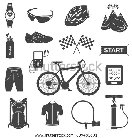 Set Line Icons Open Path Cycling Stock Illustration ...