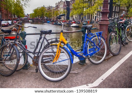 Bicycles lining a bridge over the canals of Amsterdam, Netherlands.