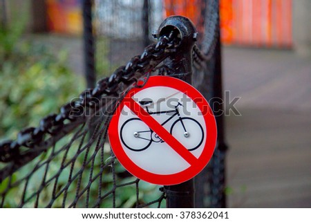 Bicycles not allowed traffic sign - stock photo