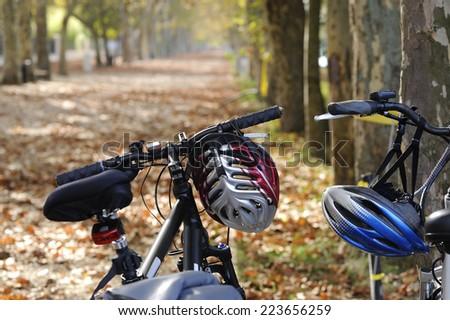 bicycles on a autumn trip - stock photo