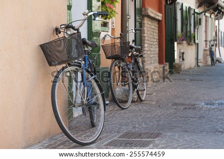 Bicycles on the Italian street.