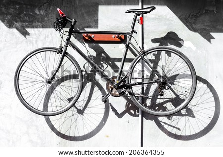 Bicycles on the wall , Bike wall hangings - stock photo