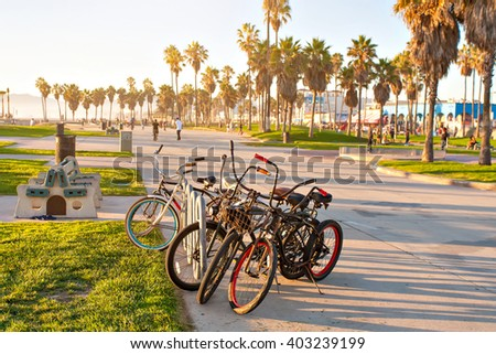 Bicycles on Venice Beach in Los Angeles California - stock photo