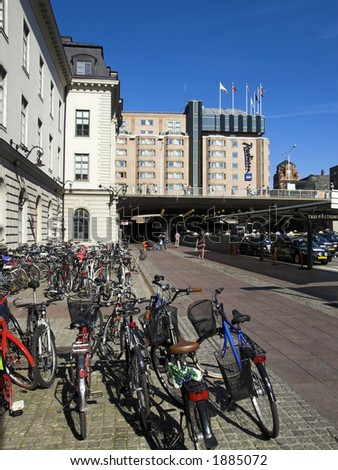 bicycles park in central station, Stockholm - stock photo