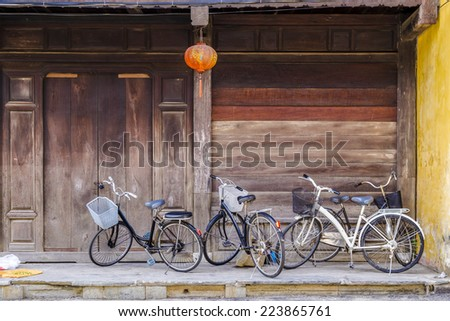 Bicycles parking on the sidewalk - stock photo