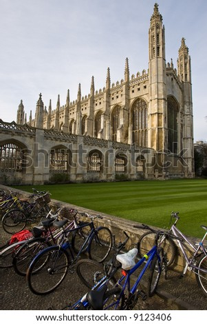 Bicycles standing outside Kings College in Cambridge - stock photo
