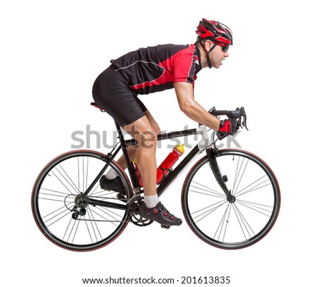 Bicyclist riding a bicycle isolated on white background. Effort biker sprints on the road bike. - stock photo