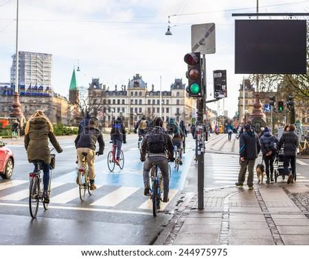 Bicyclists in Copenhagen - stock photo