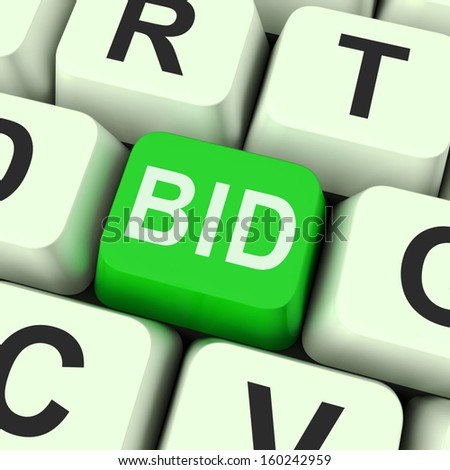 Bid Key Showing Online Auction Or Bidding  - stock photo