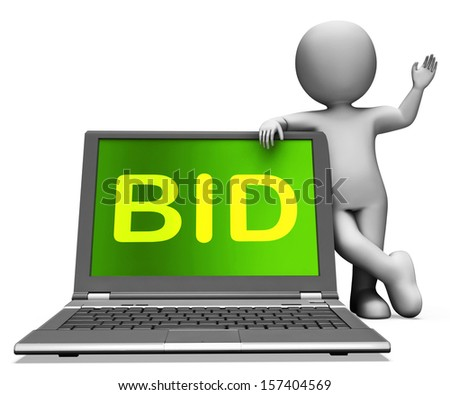 Bid Laptop And Character Showing Bidder Bidding Or Auctions Online - stock photo
