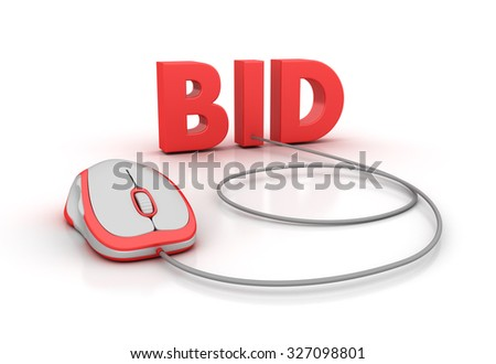 BID Word with Computer Mouse - High Quality 3D Render - stock photo